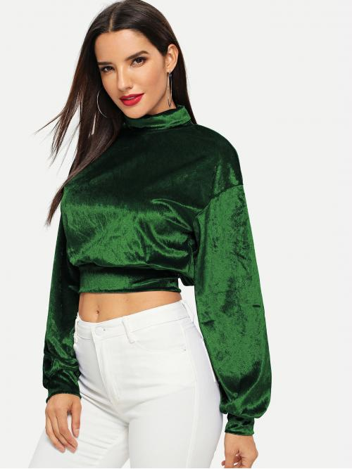 Glamorous Plain Regular Fit Long Sleeve Pullovers Green Crop .