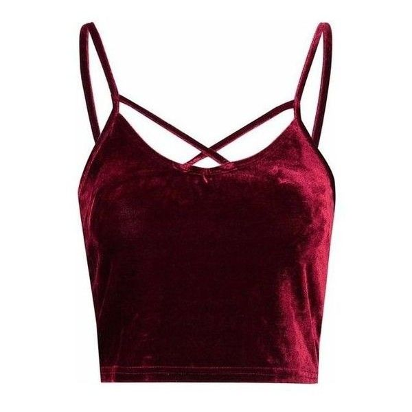 Burgundy Velvet Cropped Cami Top ❤ liked on Polyvore featuring .