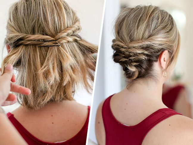 This Quick Messy Updo for Short Hair Is So Cool | Medium hair .