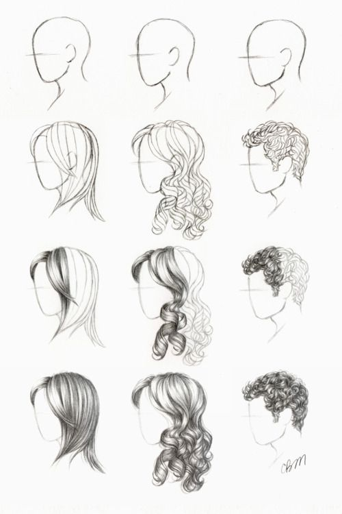 Drawing tutorial tutorials curly straight short hair styles | How .