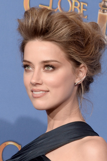Amber Heard's Makeup at the Golden Globes 2014 | Teased hair, Bump .