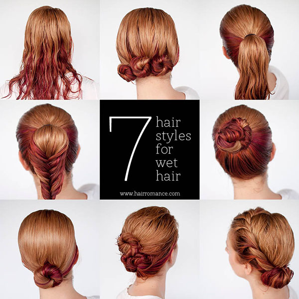 Get ready fast with 7 easy hairstyle tutorials for wet hair - Hair .