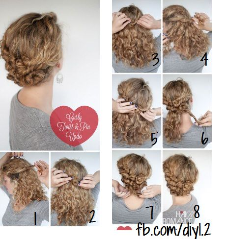 Hairstyle Tutorial - Easy Twist and Pin updo for curly hair | Hair .