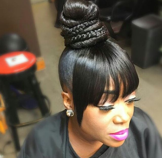 Natural style | Black ponytail hairstyles, Black hair updo .