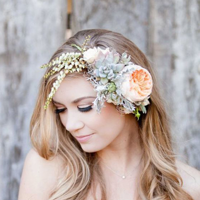 Hairstyles with Flower Crowns for Wedding