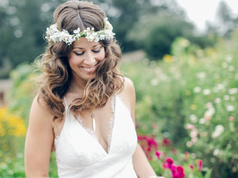 Flower Crown Wedding Hairstyles for Brides and Flower Gir