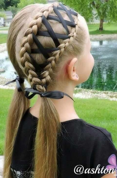 Braid with ribbons | Cool hairstyles for girls, Kids hairstyles .