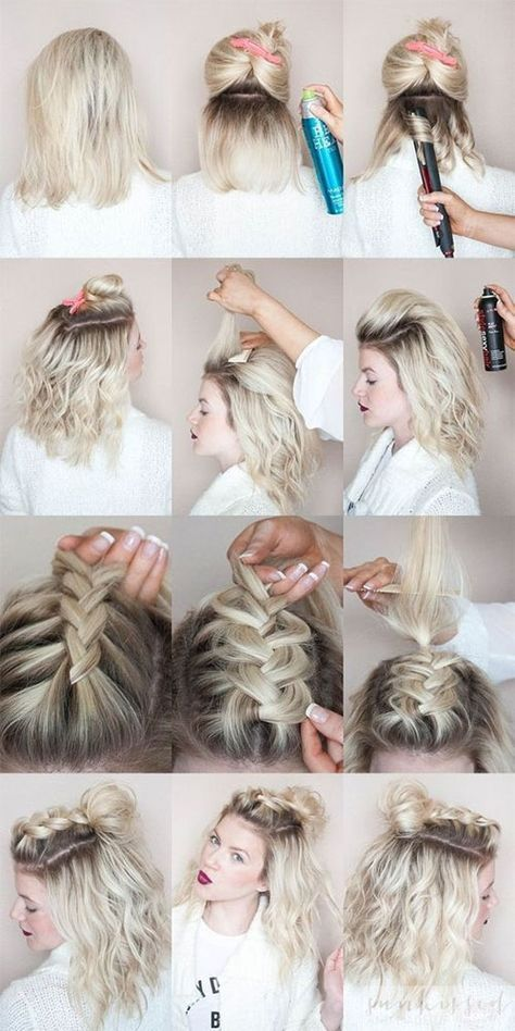 Half-Up, half-down Hairstyles for Short Hair, Hacks, Tutorials .