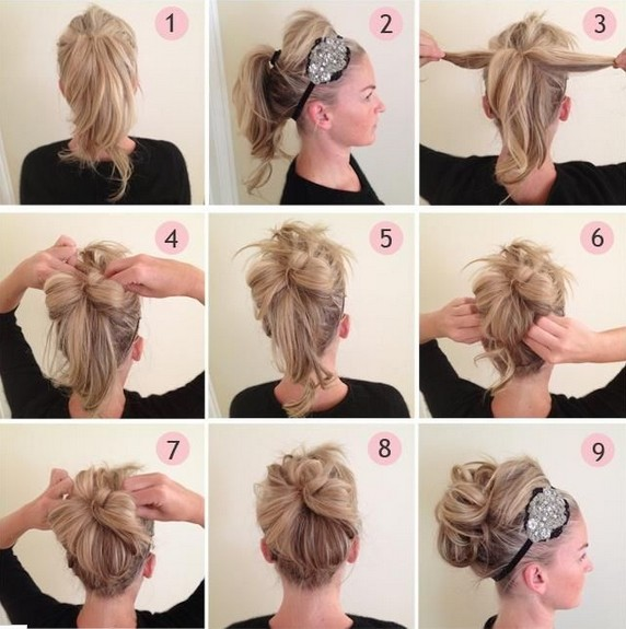 Updos Tutorial: Beaded Headband Updo Hairstyle for Prom - PoPular .