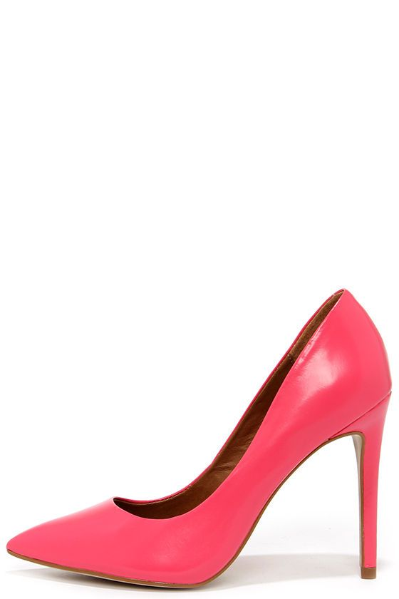 Steve Madden Proto Pink Leather Pointed Pumps | Pink leather .