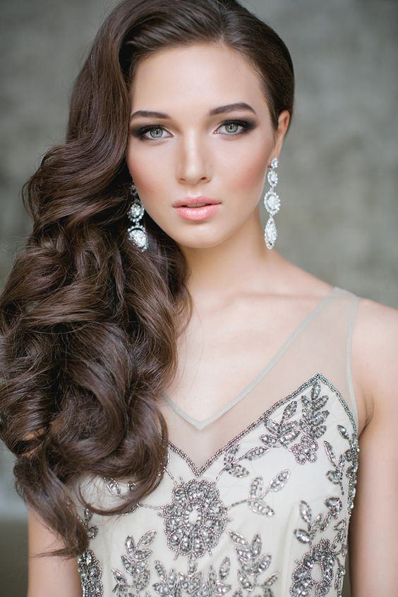 Picture Of elegant side swept curls, nothing else need