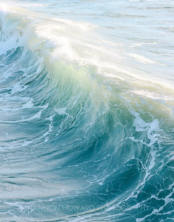 Wave Photography, Pretty Beach Decor, Ocean Water Nautical Coastal .