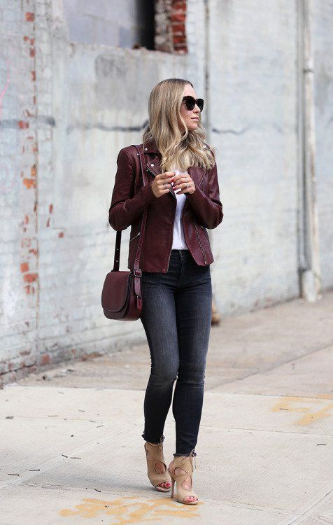 17 ideas to add burgundy to your outfits | Leather jacket outfits .