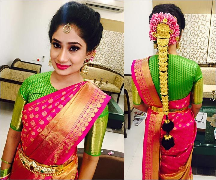 South Indian Bridal Front Hairstyles #SouthIndian #BridalHairstyle .