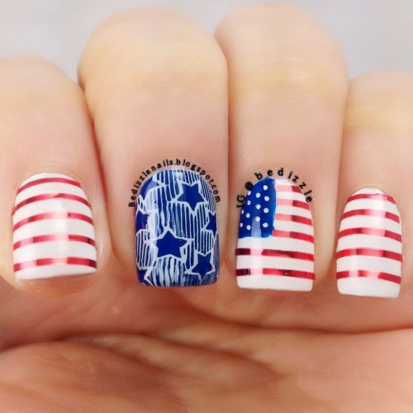 30+ American Flag Inspired Stripes and Stars Nail Ideas .