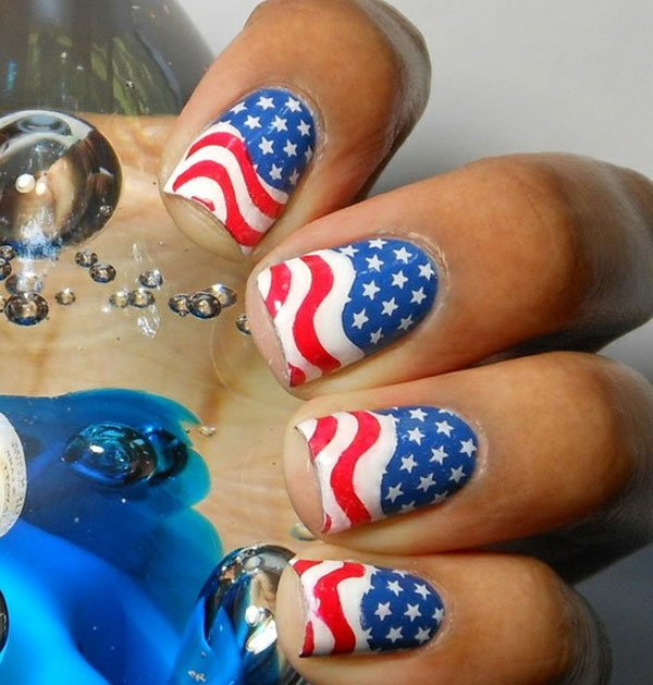 15 Interesting American Flag Inspired Nail Designs - Pretty Desig