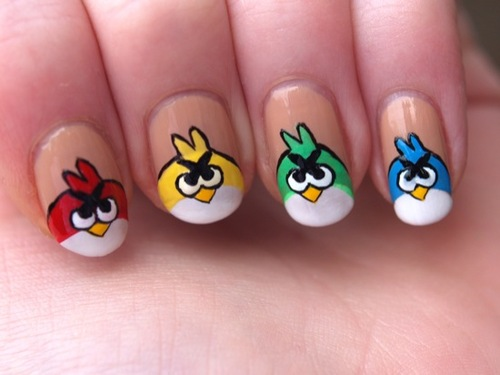 51+ Latest Angry Birds Nail Art Design Ide