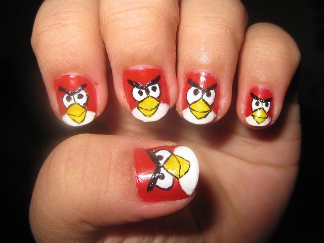 Interesting Angry Bird Nail Designs