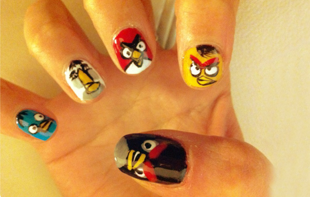 Amazing Angry Birds Nail Art Design Id