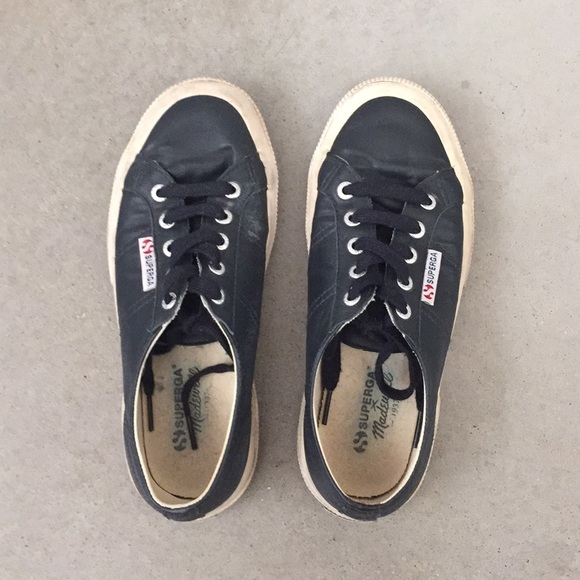 Madewell Shoes | X Superga Navy Leather Sneakers | Poshma