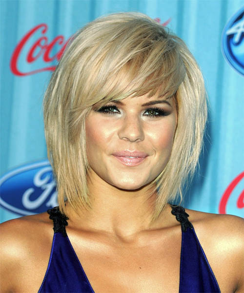 Kimberly Caldwell Medium Straight Light Blonde Hairstyle with Side .