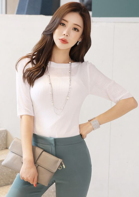 Boat Neck Half Sleeve Knit Tee in 2020 | Stylish work outfits .