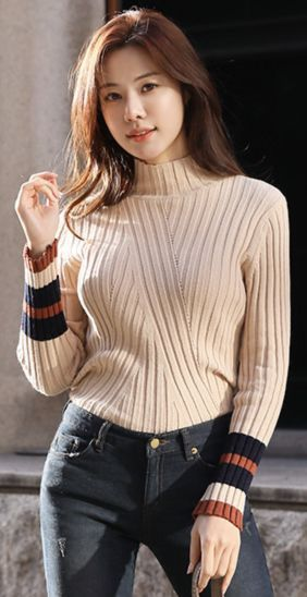 Color Line Detail High Neck Knit Tee | Fashion, Winter fashion .