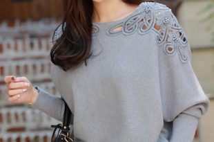 Lace Inset Dolman Sleeve Knit Top in 2020 | Stylish tops for women .