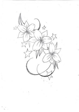 Lily Flowers n Stars Tattoo Design (With images) | Flower tattoo .