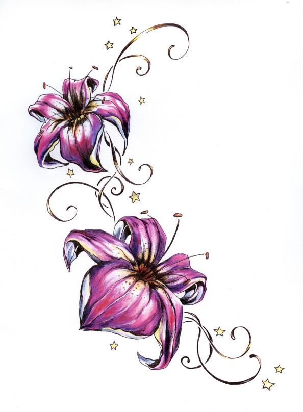 Color Lily Flower Tattoo Desi