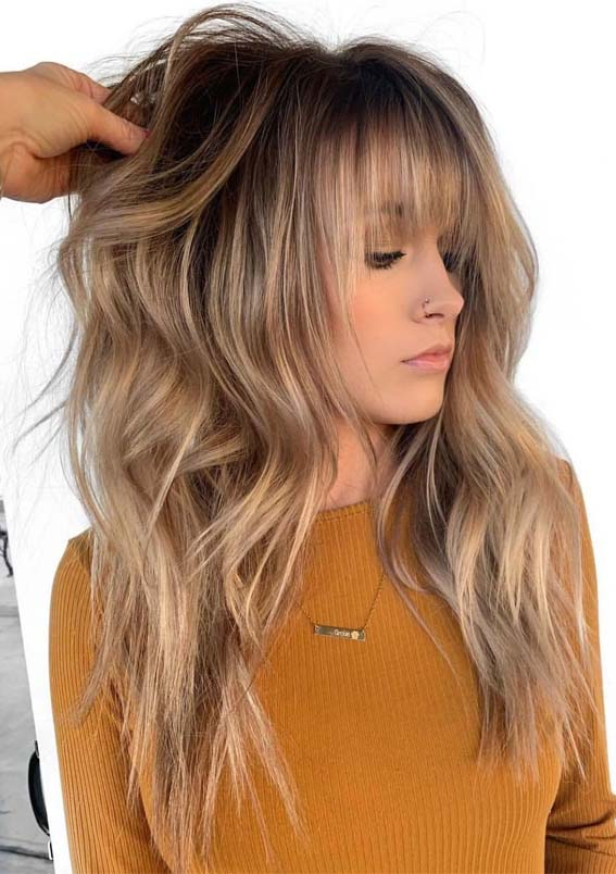 12 Best Long Balayage Hairstyles with Bangs in 2019 | Absurd Styl