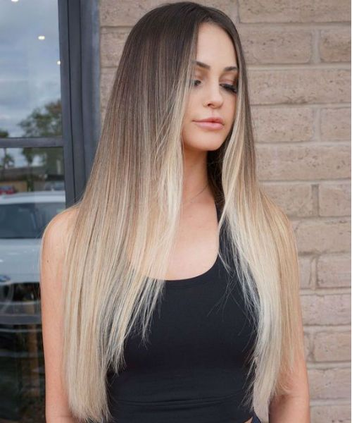 Glorious Peach Blonde Long Straight Hairstyles for Girls to Look .