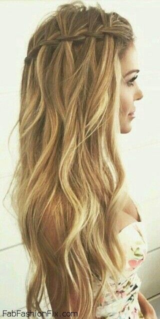 Loose waterfall braid for summer hair inspiration. #braid #braided .
