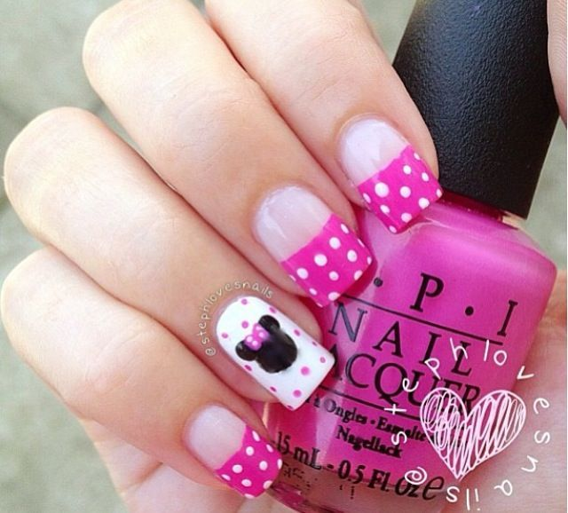 Image via Lovely Cartoon Themed Nails for the Week | Minnie mouse .