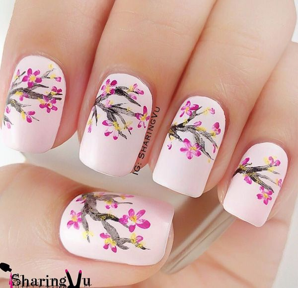 50 Lovely Spring Nail Art Ideas | Cherry blossom nails, Spring .