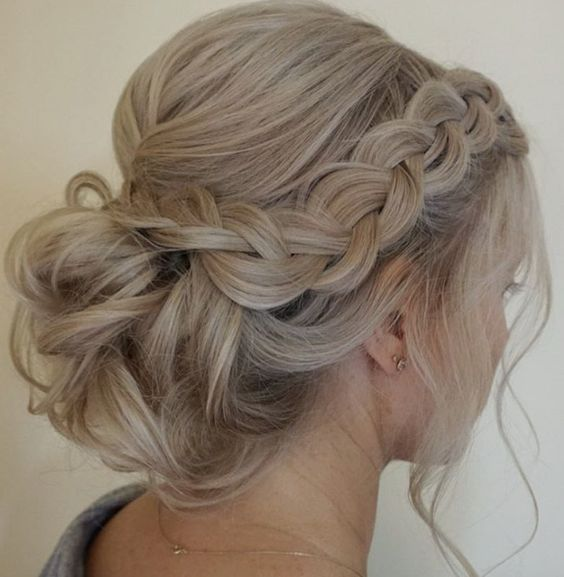 Side Braided Low Updo Wedding Hairstyle | Homecoming hairstyles .