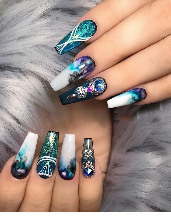 Magical nails | Coffin nails designs, Rhinestone nails, Gorgeous nai
