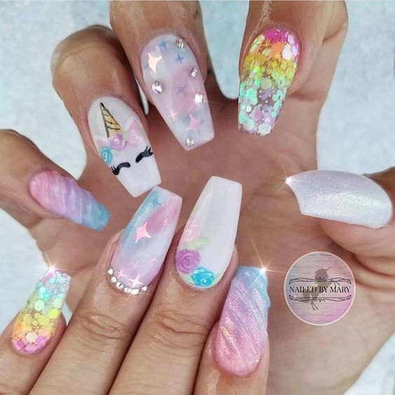 50 Magical Unicorn Nail Art Designs – Page 31 – Tiger Fe