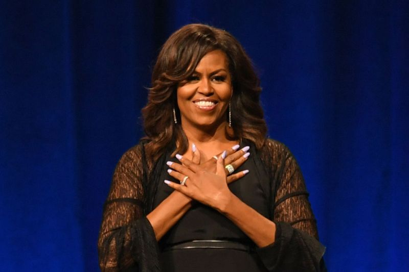 Michelle Obama Makes Waves in Chic Jumpsuit With Strappy Black .