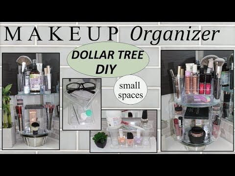 MAKEUP STORAGE IDEAS | Dollar Tree DIY | ROTATING MAKEUP ORGANIZER .