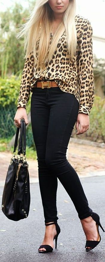 Leopard Top, Skinny Jeans & Sandals ❤︎ #streetstyle | Fashion .