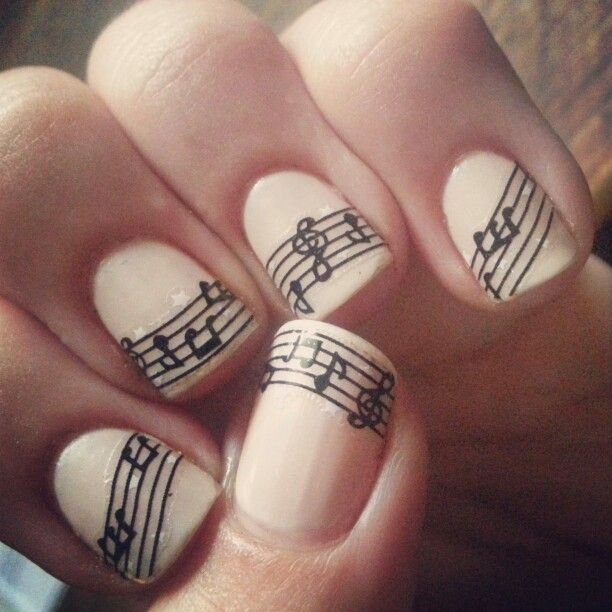 Music Manicure for You to Rock | Music nails, Music note nails, Nai