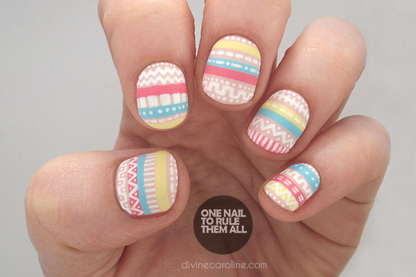 Perfectly Pastel Aztec Nail Art to Try - Mo