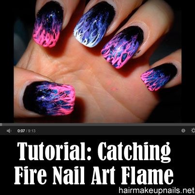 Catching Fire Nail Art Flame Marble Tips (Level 1) I would try .