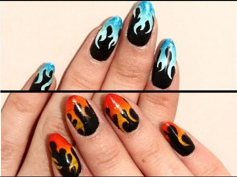 DIY Easy Fire and Ice Flame Nail Art Tutorial | Flame nail art .