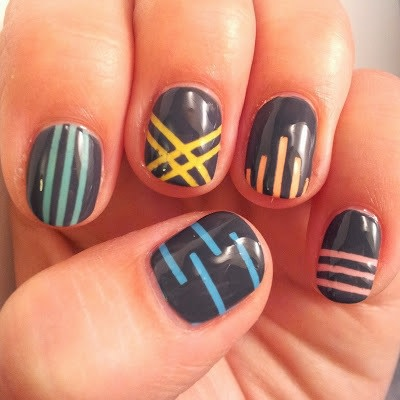 Pastel Striping Tape Nail Art Tutorial · How To Paint A Stripy .