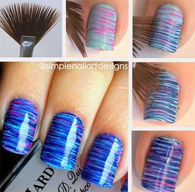17 Easy And Cool Step By Step Nail Art Tutorials | Fan brush nails .