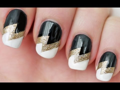 Lightning Bolt Nails using Scotch Tape - YouTu