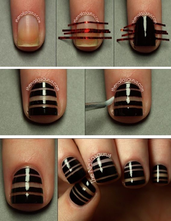 15 Easy Nail Tutorials with Scotch Tape - Pretty Desig
