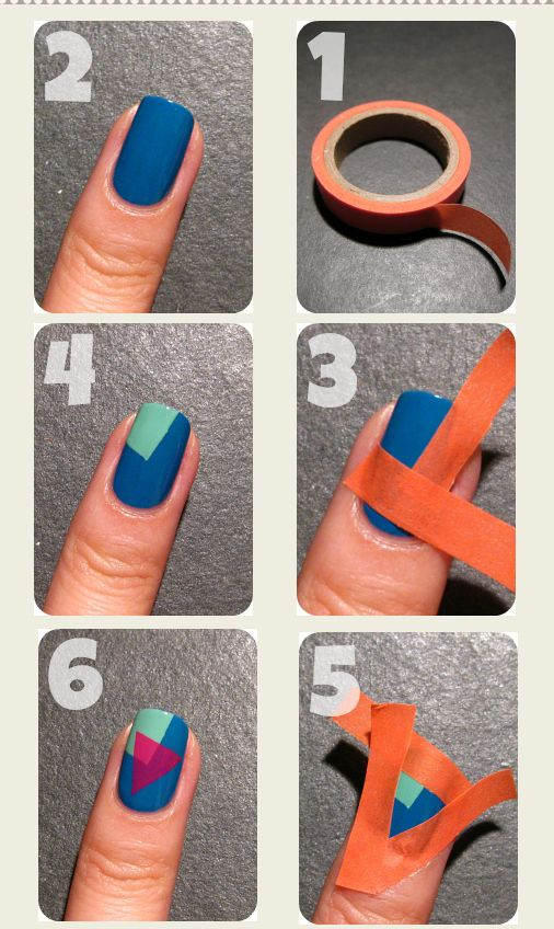 15 DIY Nail Tutorials With Scotch Tape | nails | Simple nails .